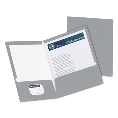 High gloss laminated paperboard folder, 100-sheet capacity, gray, 25/box, sold as 1 box, 25 each per box