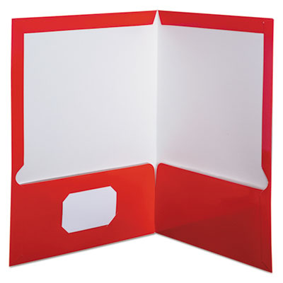 High gloss laminated paperboard folder, 100-sheet capacity, red, 25/box, sold as 1 box, 25 each per box