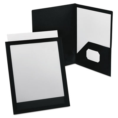 Viewfolio polypropylene portfolio, 50-sheet capacity, black/clear, sold as 1 each