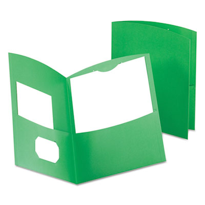 Contour two-pocket recycled paper folder, 100-sheet capacity, green, sold as 1 box, 25 each per box