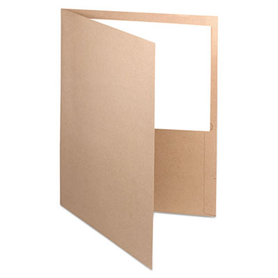 Earthwise 100% recycled paper twin-pocket portfolio, natural, sold as 1 box, 25 each per box