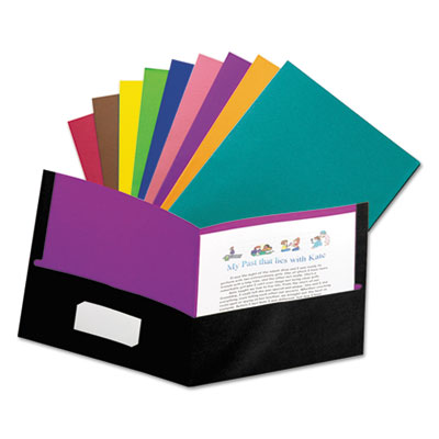 Twisted twin pocket folder, 100-sheet capacity, assorted, sold as 1 each