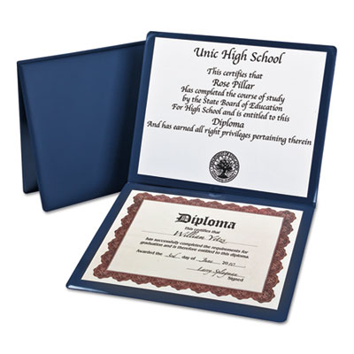 Diploma cover, 12 1/2 x 10 1/2, navy, sold as 1 each