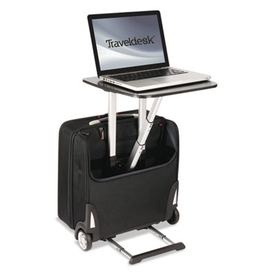 "Traveldesk mobile work station, polyester, 10 3/4"" x 18 1/2"" x 17 1/4"", black, sold as 1 each"