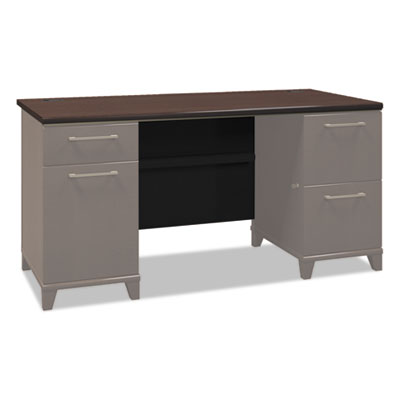 Enterprise collection 60w double pedestal desk, mocha cherry (box 2 of 2), sold as 1 each