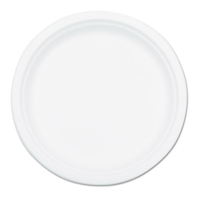 Compostable sugarcane bagasse 10 in plate, round, white, 500/carton, sold as 1 carton, 500 each per carton