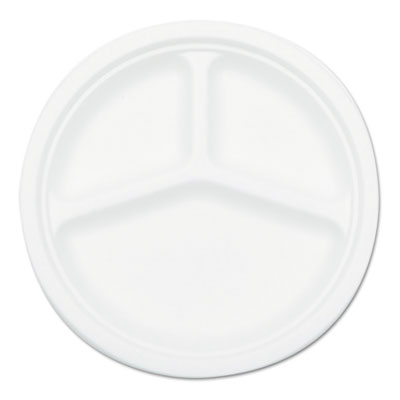 Compostable sugarcane bagasse 10 in 3-compartment plate, white, 500/carton, sold as 1 carton, 500 each per carton