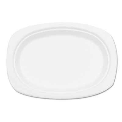 Compostable sugarcane bagasse oval plate, 9 x 6.5, white, 500/carton, sold as 1 carton, 500 each per carton