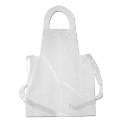 Poly apron, white, polyethylene, 28 x 55, 100/pack, sold as 1 package