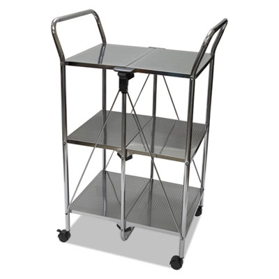 Click-n-fold dual handle service cart, 23 1/4w x 18d x 26 1/4h, chrome, sold as 1 each