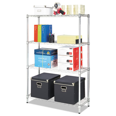 Residential wire shelving, four-shelf, 36w x 14d x 54h, silver, sold as 1 each