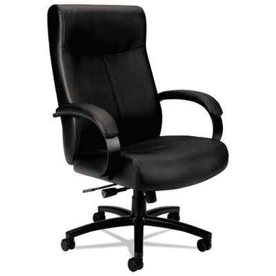 Vl680 series big & tall leather chair, supports up to 450 lbs., black, sold as 1 each