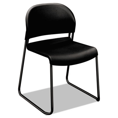 Gueststacker series chair, black with black finish legs, 4/carton, sold as 1 carton, 4 each per carton
