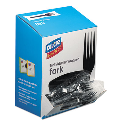Grab?n go wrapped cutlery, forks, black, 90/box, sold as 1 package