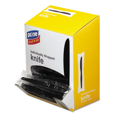 Grab?n go wrapped cutlery, knives, black, 90/box, sold as 1 package