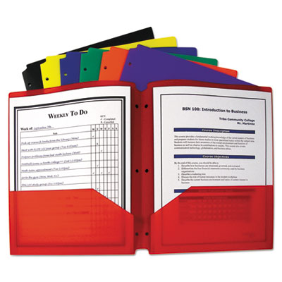 Two-pocket heavyweight poly portfolio folder w/3-hole punch, letter, assorted, sold as 1 each