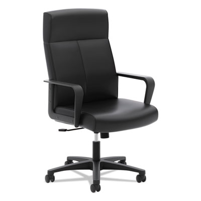 Vl604 series high-back executive chair, black softhread leather, sold as 1 each