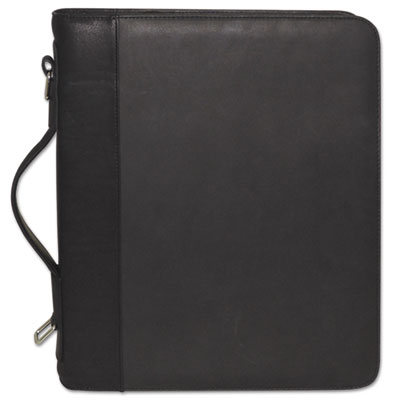 Zip-around cal-q folio, smooth cover, calculator, 3-ring, pad, pocket, black, sold as 1 each