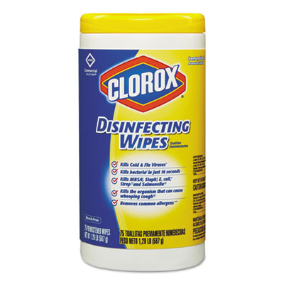 Disinfecting wipes, 7 x 8,  lemon fresh, 75/canister, sold as 1 each