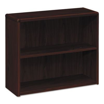 10700 series wood bookcase, two shelf, 36w x 13 1/8d x 29 5/8h, mahogany, sold as 1 each