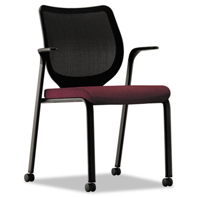 Nucleus series multipurpose chair, black ilira-stretch m4 back, wine seat, black, sold as 1 each