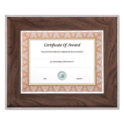 Executive series document and photo frame, 8 1/2 x 11, mahogany/silver frame, sold as 1 each