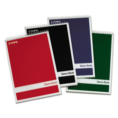 Steno book w/assorted colored covers, 6 x 9, green tint, 80 sheets, 4 pads/pack, sold as 1 package