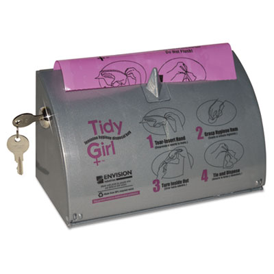 Tidy girl plastic feminine hygiene disposal bag dispenser, gray, sold as 1 each