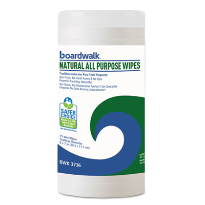 Natural all purpose wipes, 7 x 8, unscented, 75/canister, sold as 1 carton, 6 each per carton