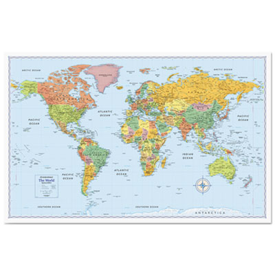 M-series full-color world map, 50 x 32, sold as 1 each