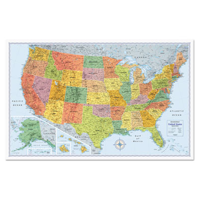 U.s. physical/political map, dry erase, single roller mounted, 50 x 32, sold as 1 each