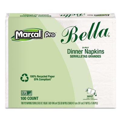 100% premium recycled bella dinner napkins, 15 x 17, white, 3000/carton, sold as 1 carton, 30 package per carton