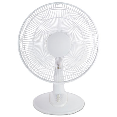"12"" 3-speed oscillating desk fan, plastic, white, sold as 1 each"