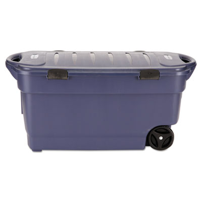 Roughneck wheeled storage box, 45gal, dark indigo metallic, sold as 1 each
