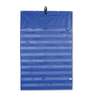 Essential pocket chart, 10 clear & 1 storage pocket, grommets, blue, 31 x 42, sold as 1 each