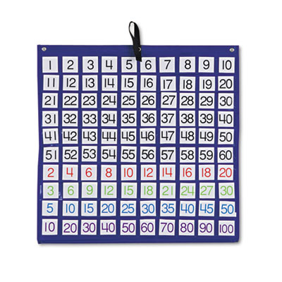 Hundreds pocket chart with 100 clear pockets, colored number cards, 26 x 26, sold as 1 each