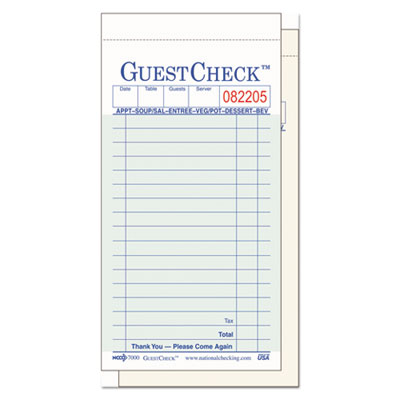 Two-part carbonless guestcheck pad, 3 1/2 x 6 3/4, 50 sets/book, 50 books/carton, sold as 1 carton, 2500 each per carton