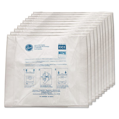 Disposable vacuum bags, hepa cc1, 10/pack, sold as 1 package