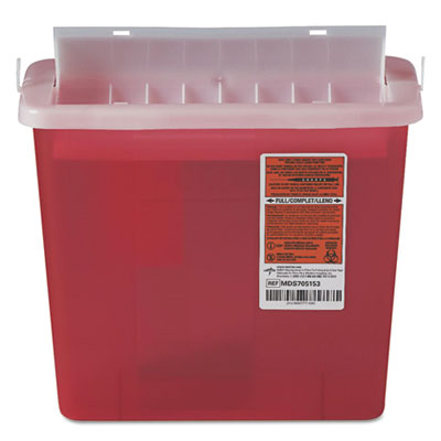 Sharps container for patient room, plastic, 5qt, rectangular, red, sold as 1 each