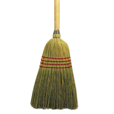 "Maid broom, mixed fiber bristles, 42"" wood handle, natural, sold as 1 each"