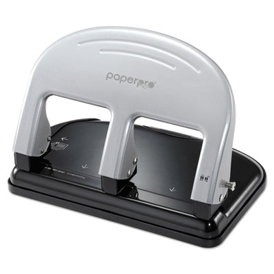 Inpress three-hole punch, 40-sheet capacity, black/silver, sold as 1 each