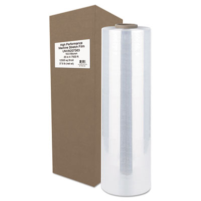 "High-performance machine stretch film, 20"" x 7500 ft, 16mic, clear, sold as 1 roll"