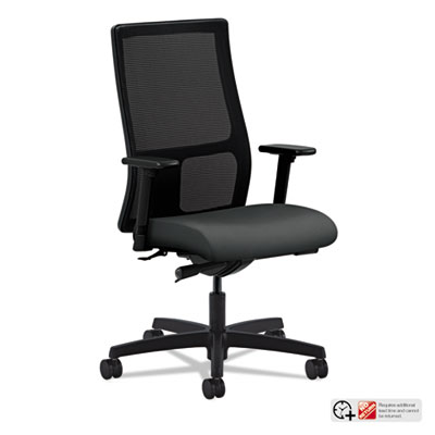 Ignition series mesh mid-back work chair, iron ore fabric upholstered seat, sold as 1 each