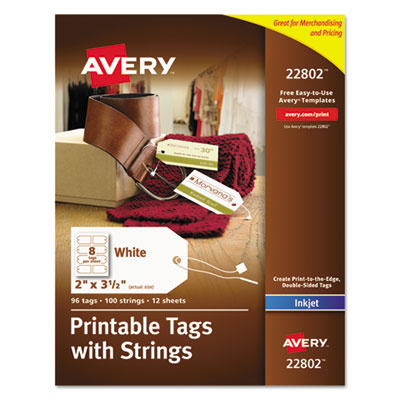 Printable tags with strings, 2 x 3 1/2, white, 96/pack, sold as 1 package