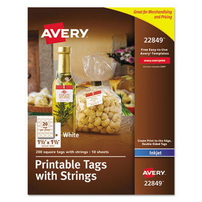 Printable tags with strings, 1 1/2 x 1 1/2, white, square, 200 per pack, sold as 1 package