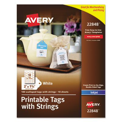 Printable tags with strings, 2 x 1 1/4, white, scalloped, 180 tags, sold as 1 package