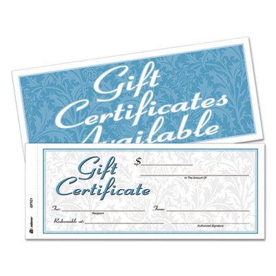 Gift certificates w/envelopes, 8 x 3 2/5, white/canary, 25/book, sold as 1 each