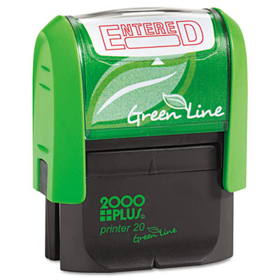 2000 plus green line message stamp, entered, 1 1/2 x 9/16, red, sold as 1 each