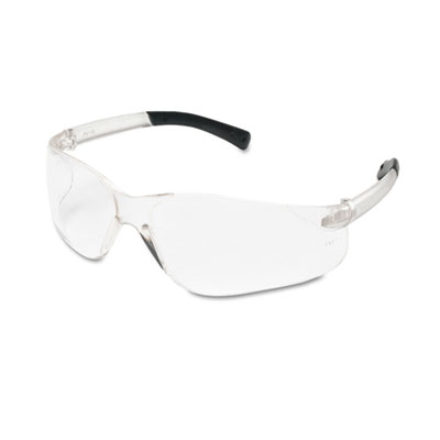 Bearkat safety glasses, wraparound, black frame/clear lens, sold as 1 box, 12 each per box