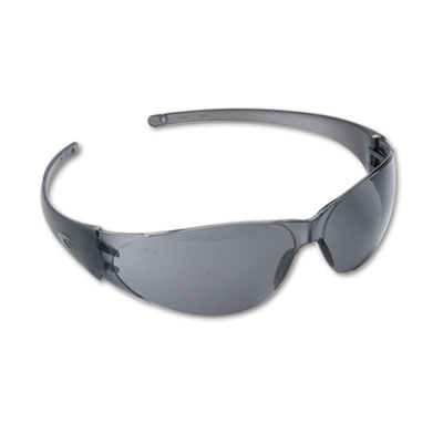 Checkmate wraparound safety glasses, clear polycarbonate frame, gray lens, sold as 1 each